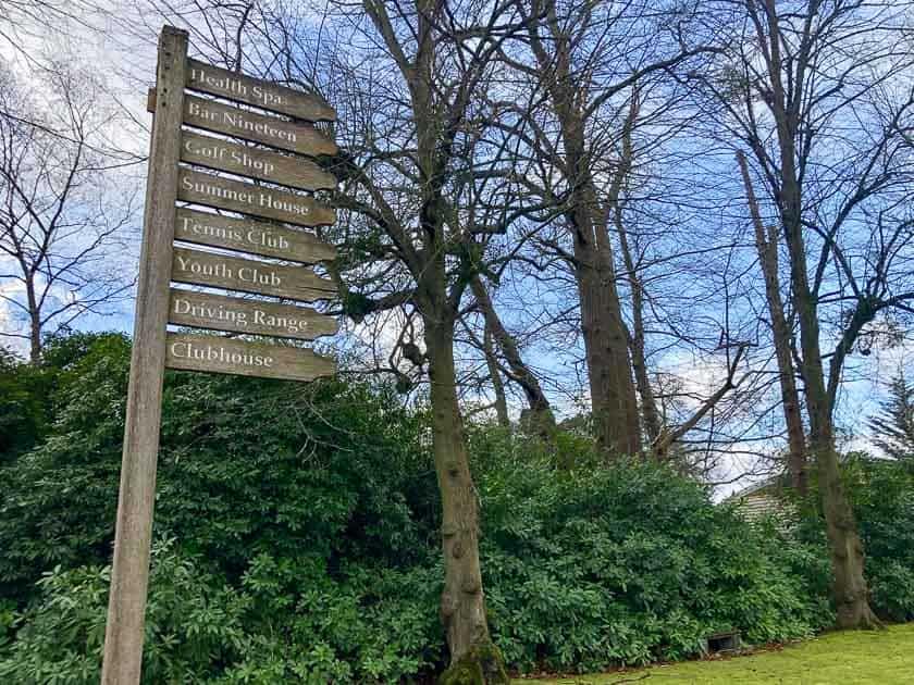 Signpost of activities at Foxhills
