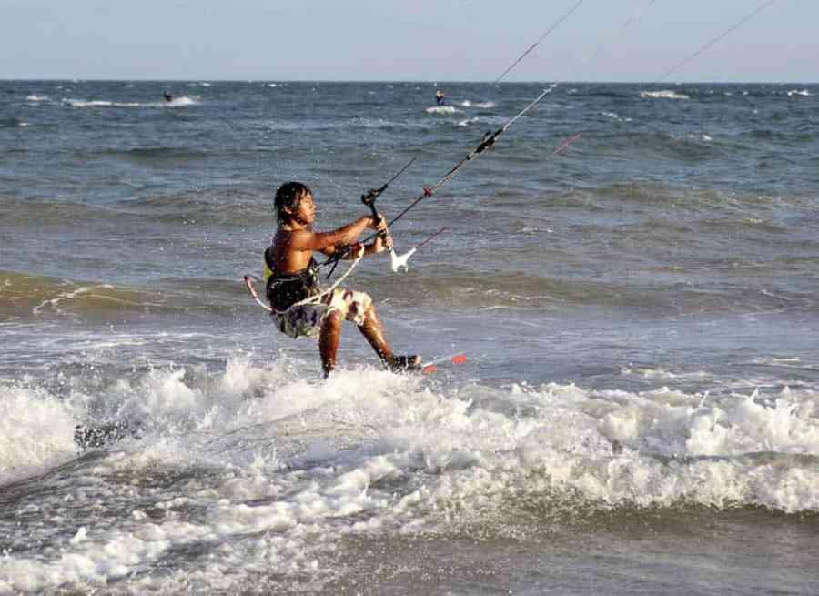 Man kite surfing in Vietnam