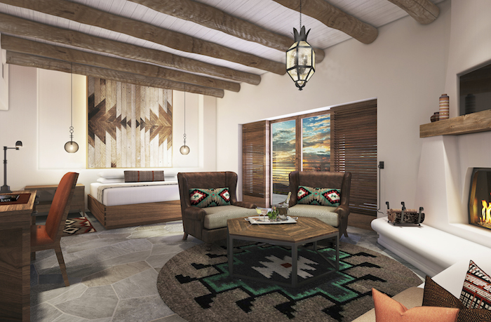 """The Boulders Resort & Spa, a perennial five-star hotel in far North Scottsdale that was recently purchased by Hilton for its Curio collection, announced a multi-million dollar property-wide renovation project.  The project, slated to be finished by December, is helmed by DiLeonardo, an award-winning East Coast design firm.    """"We are rejuvenating a relaxed resort environment, embracing and respecting indigenous inspirations of the Old West. Scale, pattern and colors from the Native American heritage influence the architectural detailing, carpet patterns and rich colors,"""" said June Chun, lead designer. """"We have included custom details with a rich, organic sense that truly bring the indoors and outdoors together beautifully.""""   The 160-casita style accommodations will see an updated interior while maintain the adobe-style architecture.  A sneak peak at the design reveals an earth-tone color scheme highlighted with pops of teal and orange.  Room furnishings, reminiscent of the Native American influences, include a unique headboard wall that is custom-designed with indigenous patterns and detailing that complements the luxury bedding topped with cozy plush comforters and pillows. Regional art and colorful chair pillows are juxtaposed with area rugs in bold colors and patterns.  The main lodge area will be revamped to give guests a strong sense of arriving at a luxurious Southwestern getaway. The main Palo Verde restaurant will be completely remodeled with décor reflecting the Southwestern cuisine. The Bar lounge will have floor to ceiling windows so guests can drink in the view of the 12-million-year-old boulders while sipping craft cocktails in a sophisticated space done in deep muted persimmon, white and navy shades."""