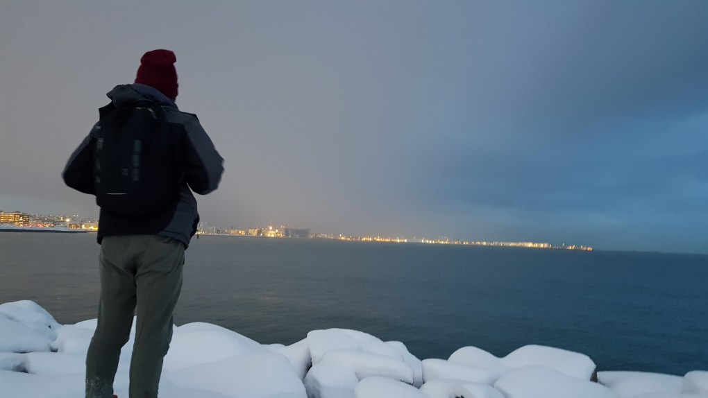 A guy looking out over the water with his back facing the camera. City lights can be seen in the background