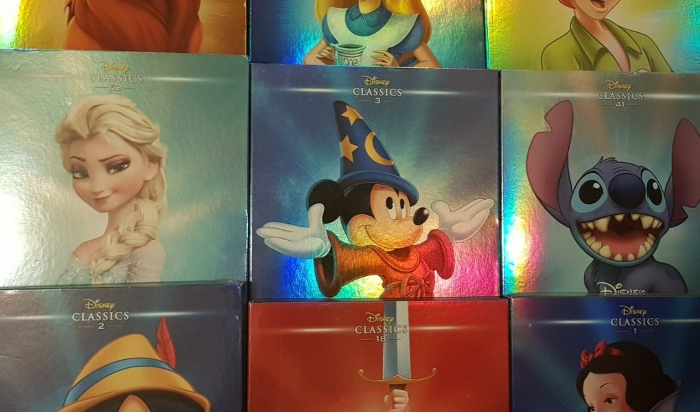 Shiny DVD boxes for Disney DVDs. Lion King, Alice in Wonderland, Peter Pan, Frozen, Fantasia, Lilo and Stitch, Pinocchio, The Sword in the Stone and Snow White