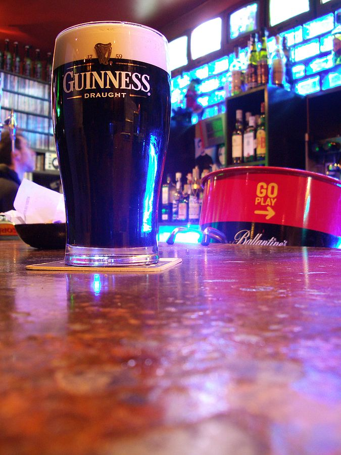 Countries in need: A pint of Guinness on a bar