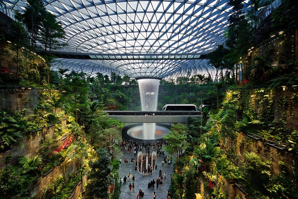 Countries in need: The Rain Vortex waterfall inside Changi Airport