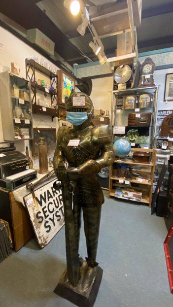 knight statue, antique shop