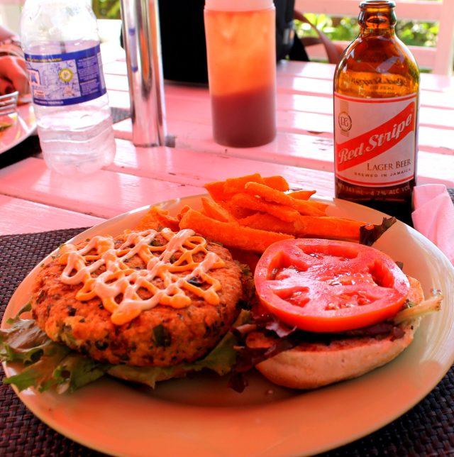 Veggie Burger at the Doctor's Cave beach!