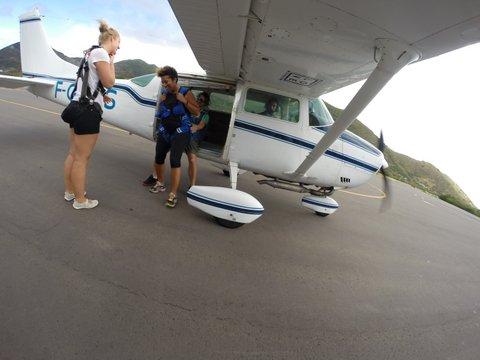 Tiny skydiving plane