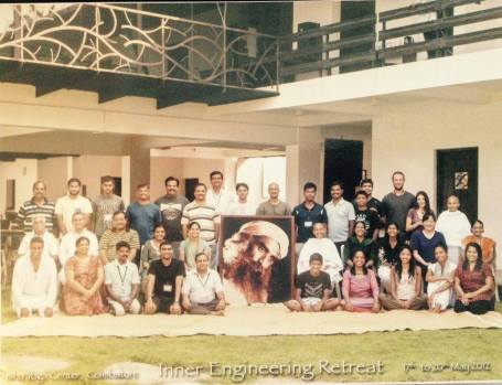 The Inner Engeneering Retreat at the Ashram in India. Germaine is second from right on the bottom row.