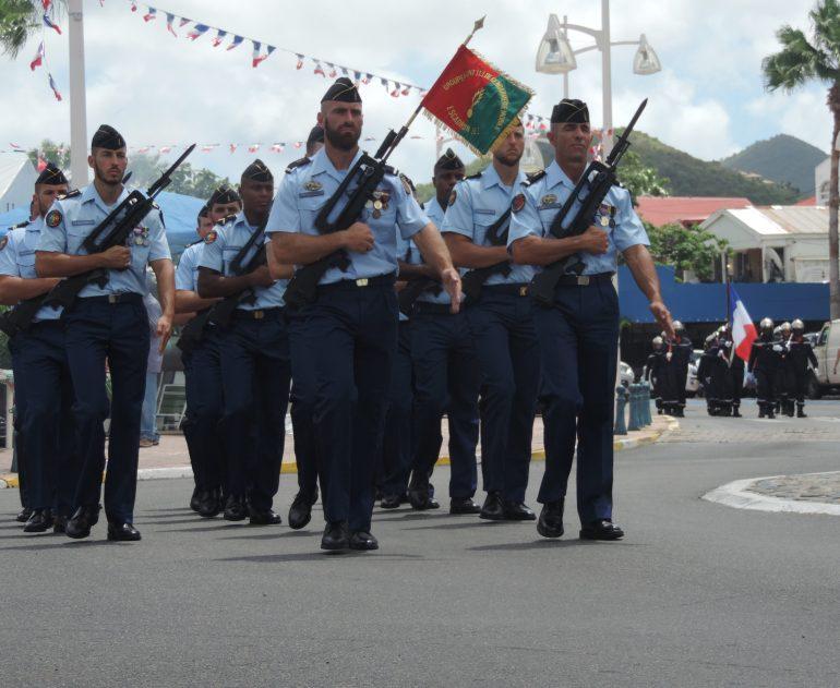 Gendarmes lead the parade