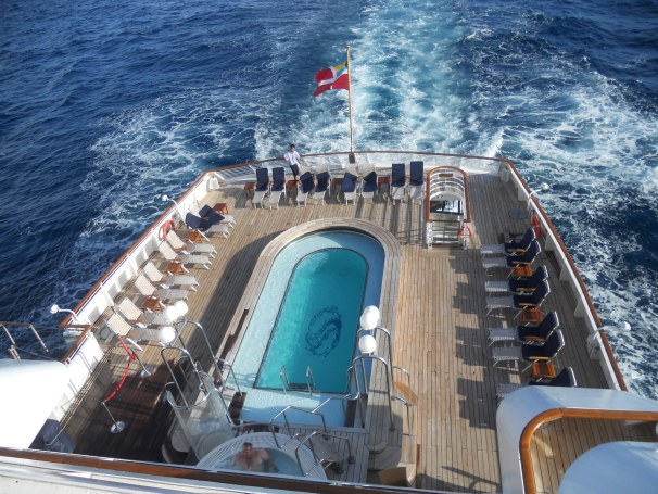 SeaDream I's pool deck.  We had more than 53 people on this cruise, but look at all the room!