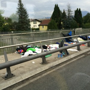 Some of the refugees sleeping along the Germany-Austria border hoping that they will be allowed into Germany