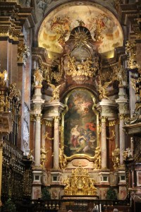 The inside of the Abbey was very ornate in its Baroque style. The emperor had his own box above the priest so that none of the congregation could see him. That came in helpful when he needed a bathroom break or fell asleep during the long masses!