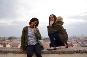 Ava and I are posing on top of a wall again, not a surprise - Zagreb, Croatia