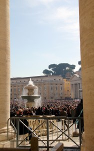 St. Peter's Square was packed full of devoted worshipers and oblivious tourists - Vatican, Italy
