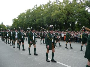 The official Lederhosen of the men in the opening day parade - Munich, Germany
