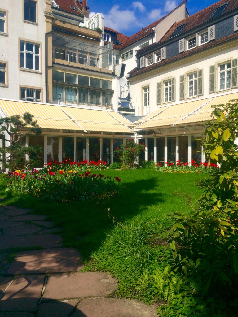 The garden outside Schafheutle is very relaxing to sit in while you enjoy your brunch - Heidelberg, Germany
