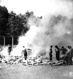 This picture was taken by one of the Sonderkommandos illegally in Auschwitz-Birkenau. It shows the bodies of the victims being burned in mass graves at the demands of the Nazis - Auschwitz, Poland