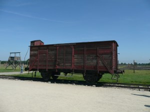 This cattle car is the kind that transported Jews across Europe - Auschwitz, Poland
