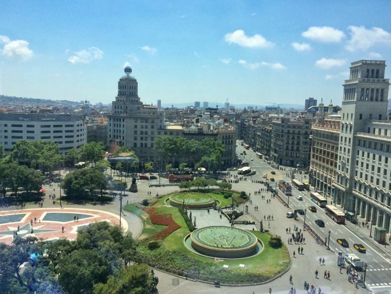Plaça d'Catalunya from Above at El Corte Ingles