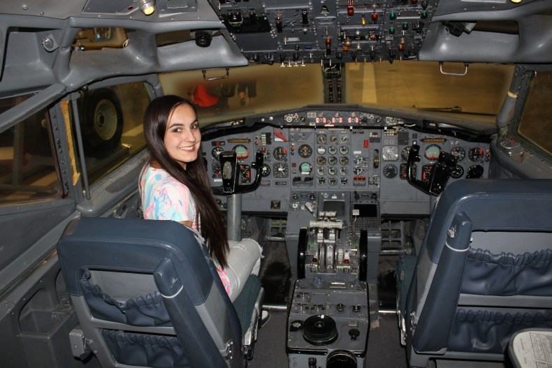 Sitting in the cockpit of a Boeing 727 at the Boeing plant!