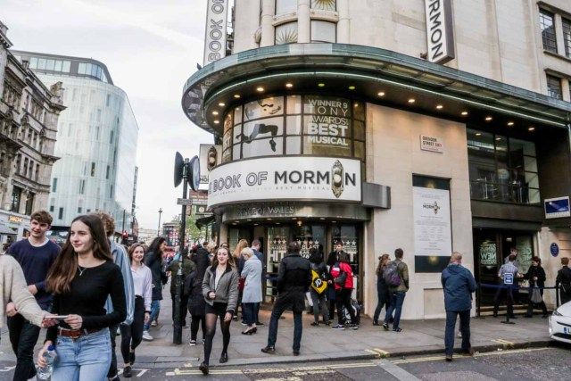 Entrance of Prince of Wales Theatre for the Book of Mormon - Scotland Wales London Itinerary BritRail Pass