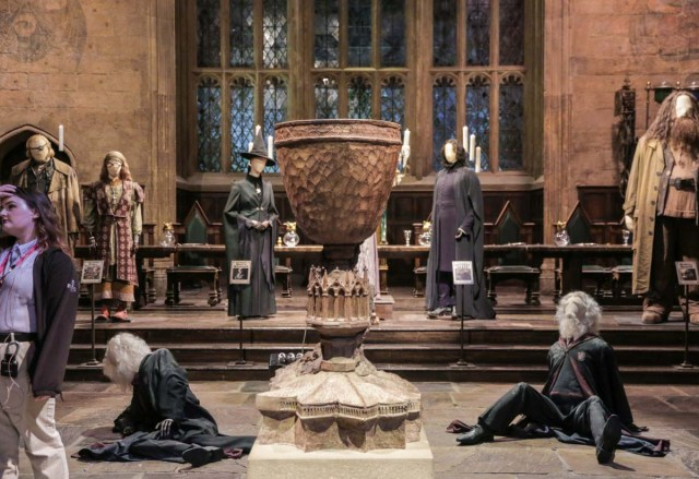 Seasonal Goblet of Fire Exhibit in the Great Hall at Warner Brothers Studio Harry Potter Tour in London - Scotland Wales London Itinerary BritRail Pass
