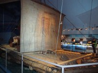 A reconstruction of Kon-Tiki boat in the Kon-Tiki museum. Norwegians and Pacific exploration. If you can't go there, I recommend reading a book or watching a film about this expedition.