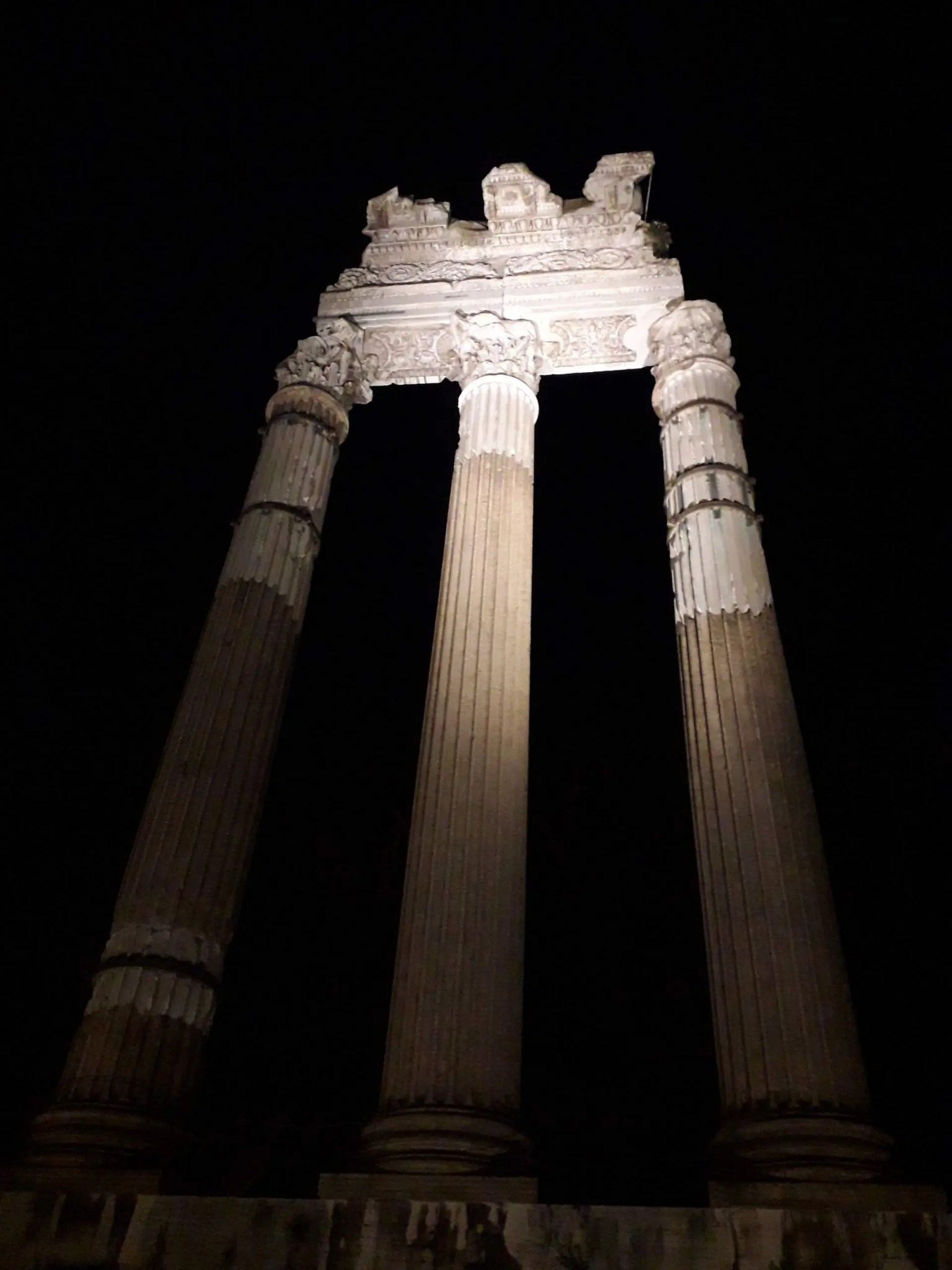 Caesar's Forum at night, Rome, Italy, Travel