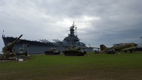 The USS Alabama with several tanks