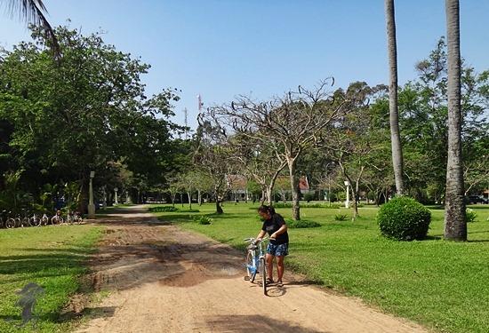 riding a bike in Siem Reap