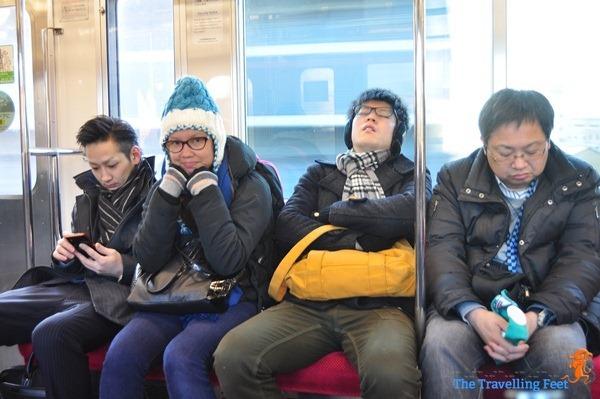 japanese train passengers