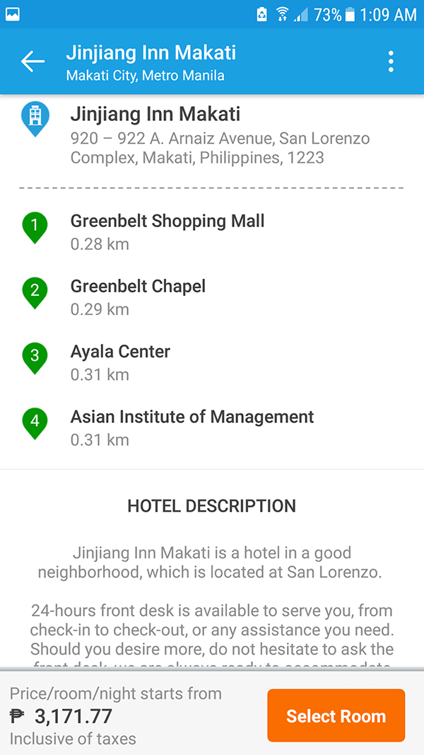 filter options show hotel near shopping malls