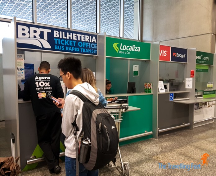 bus booth at Rio airport