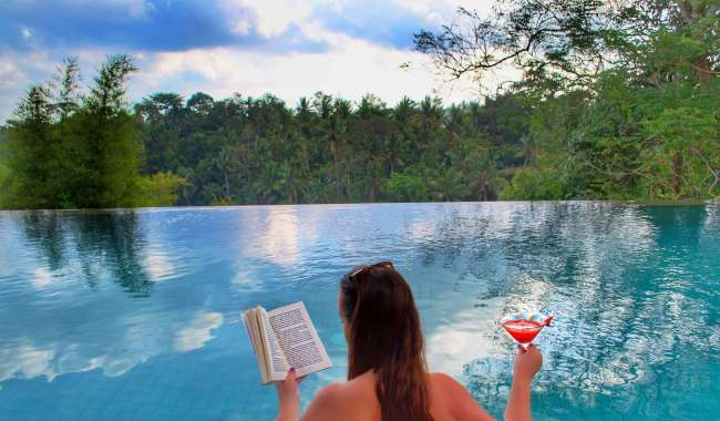 Infinity pool and cocktails at Bisma Eight, Ubud, Bali, Indonesia