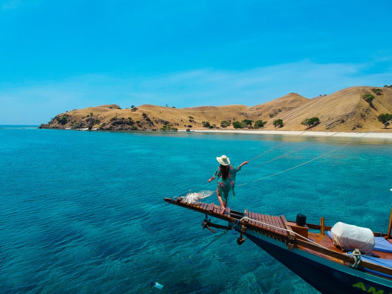 Admiring the beauty of Komodo from the Amalia's bow, Indonesia