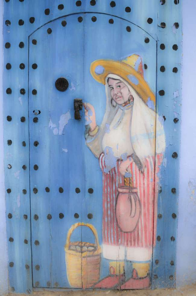 Painted door in Chefchaouen, Morocco