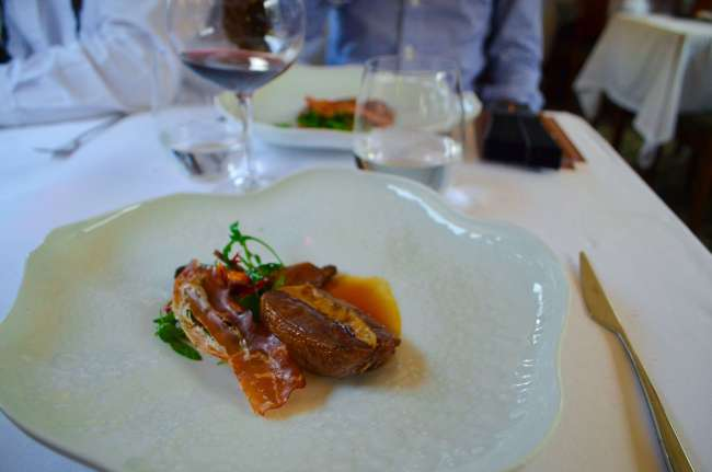 Foie gras stuffed pigeon breast, The Presidential gourmet food train, Porto, Portugal