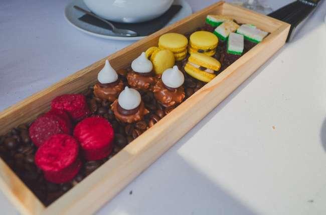 Sweet treats on The Presidential gourmet food train, Porto, Portugal