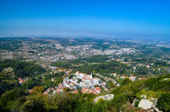 View of the historic centre of Sintra, Portugal from the Moorish Castle