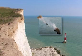 James Bond parachutes of the cliff