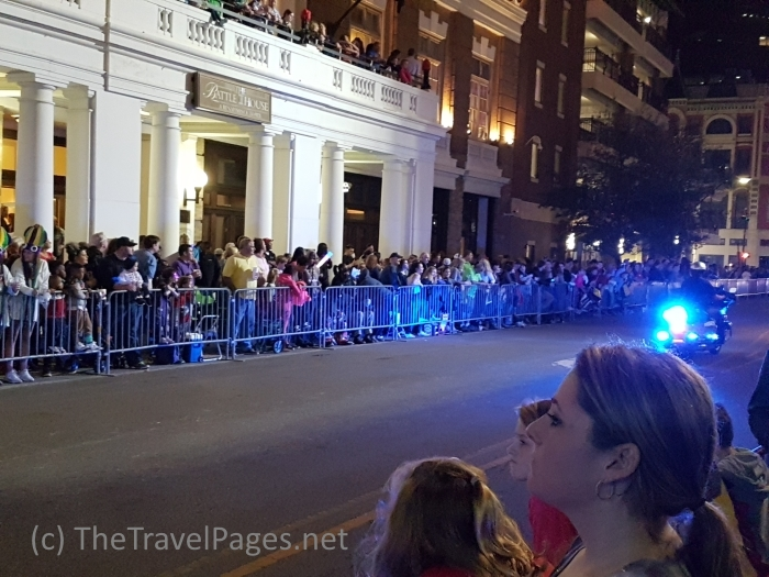 Crowds waiting for a Mardi Gras parade to begin in Mobile, Alabama, home of the USA's first Mardi Gras celebrations.