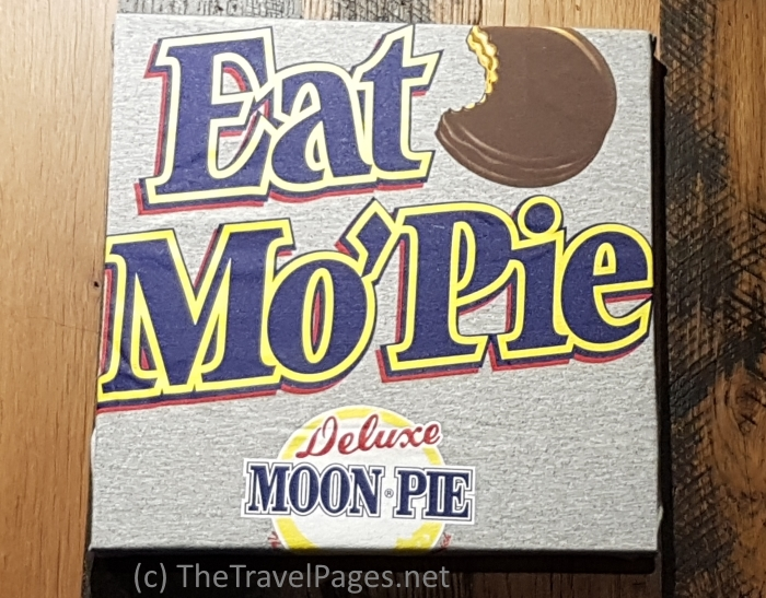 Eat Mo Pie sign for a Deluxe Moon Pie in Mobile, Alabama, home of the USA's first Mardi Gras celebrations.