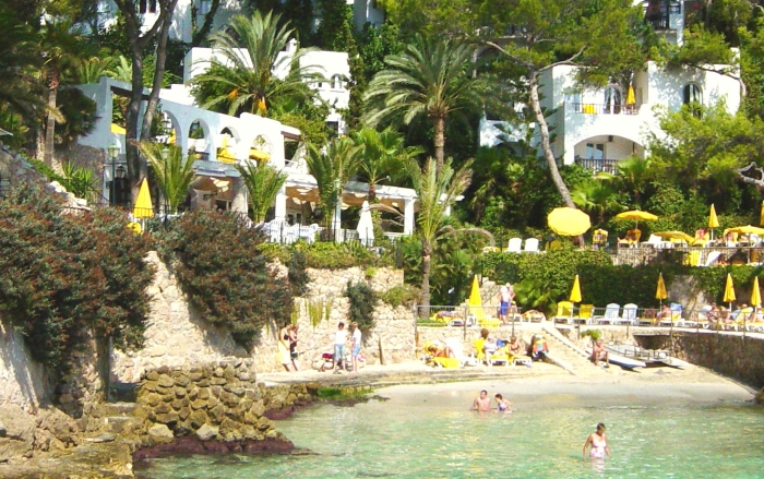 The beach at the Hotel Bon Sol Resort and Spa in Mallorca in Spain.