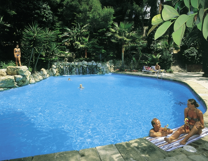One of the three swimming pools at the Hotel Bon Sol Resort and Spa in Mallorca in Spain.