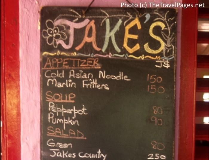 Menu at Jake's Hotel in Treasure Beach, Jamaica