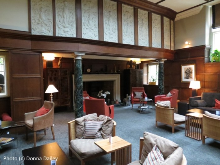 The lounge at the historic Jesmond Dene House boutique hotel in Newcastle, England