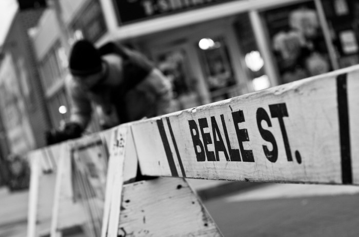 Beale Street sign on a barrier in Memphis, Tennessee