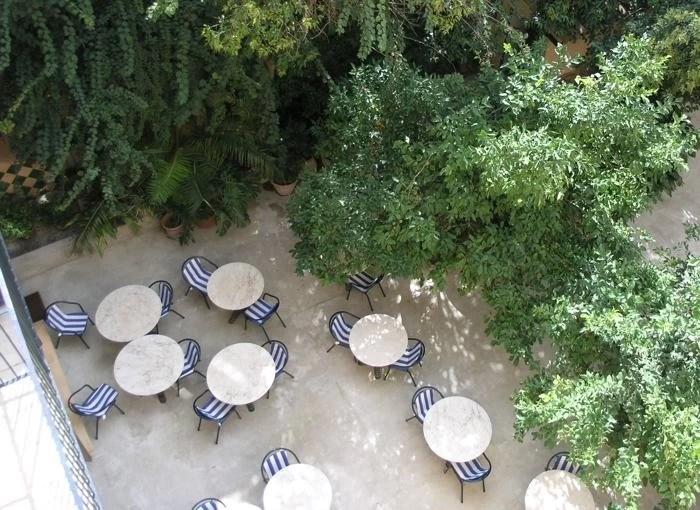 The breakfast courtyard at the Dalt Murada, a historic city centre hotel in Palma, Mallorca, Spain
