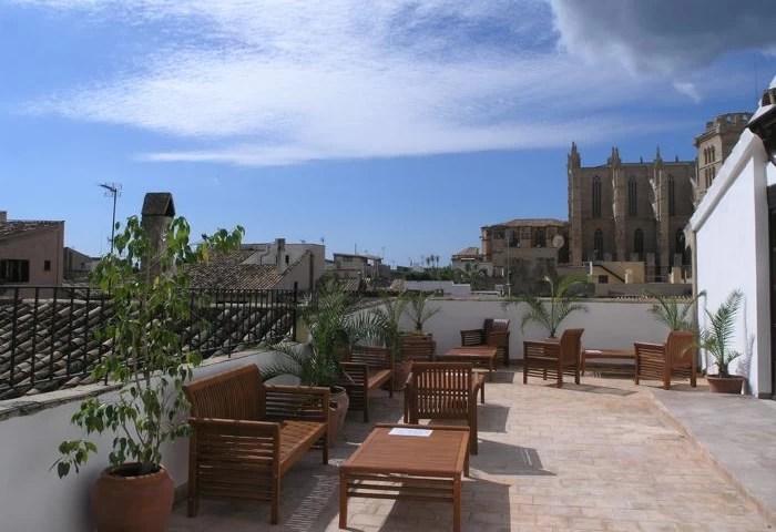 The rooftop terrace at the Dalt Murada, a historic city centre hotel in Palma, Mallorca, Spain