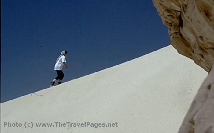 Climbing a Sand Dune in the Sinai Desert in Egypt