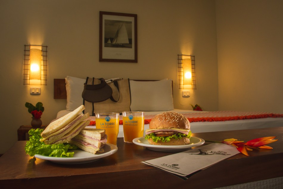 Room service trays in hotel room give a break from cooking while on a travel trip